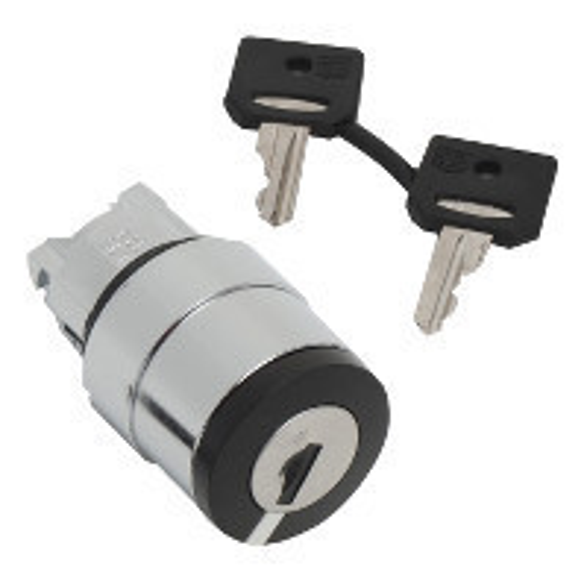 Schneider ZB4BG714 Harmony fém választókapcsoló fej, Ø22, 520E kulcsos, középső pozícióban kivehető, középre visszatérő, 3 állású