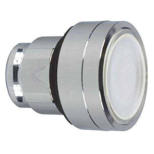 Schneider ZB4BH013 Harmony fém világító nyomógomb fej, Ø22, nyomó-nyomó, fehér