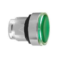 Schneider ZB4BH03837 Harmony fém világító nyomógomb fej, Ø22, nyomó-nyomó, betehető címke, zöld, fekete perem