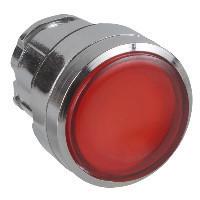 Schneider ZB4BH0483 Harmony fém világító nyomógomb fej, Ø22, nyomó-nyomó, betehető címke, piros