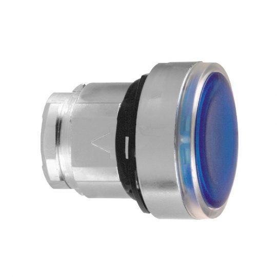 Schneider ZB4BH063 Harmony fém világító nyomógomb fej, Ø22, nyomó-nyomó, kék