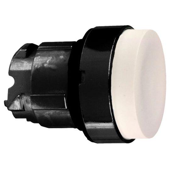 Schneider ZB4BH17 Harmony fém nyomógomb fej, Ø22, nyomó-nyomó, kiemelkedő, fehér, fekete perem