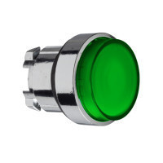 Schneider ZB4BH33 Harmony fém világító nyomógomb fej, Ø22, nyomó-nyomó, kiemelkedő, zöld
