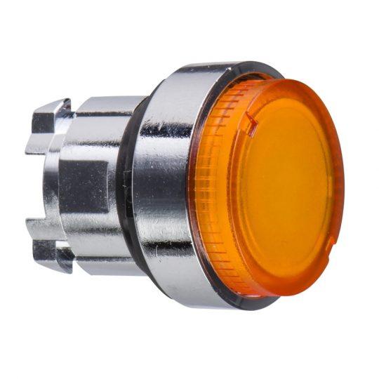 Schneider ZB4BH53 Harmony fém világító nyomógomb fej, Ø22, nyomó-nyomó, kiemelkedő, narancssárga