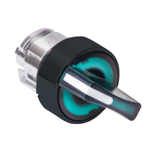 Schneider ZB4BK12337 Harmony fém világító választókapcsoló fej, Ø22, 2 állású, zöld, fekete perem
