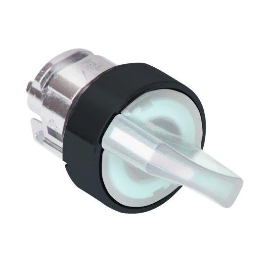 Schneider ZB4BK13137 Harmony fém világító választókapcsoló fej, Ø22, 3 állású, fehér, fekete perem