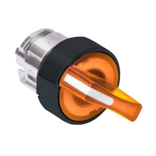 Schneider ZB4BK14537 Harmony fém világító választókapcsoló fej, Ø22, 2 állású, narancs, jobbról visszatérő, fekete perem