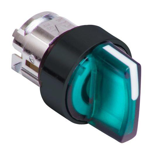 Schneider ZB4BK15337 Harmony fém világító választókapcsoló fej, Ø22, 3 állású, zöld, közép visszatérő, fekete perem