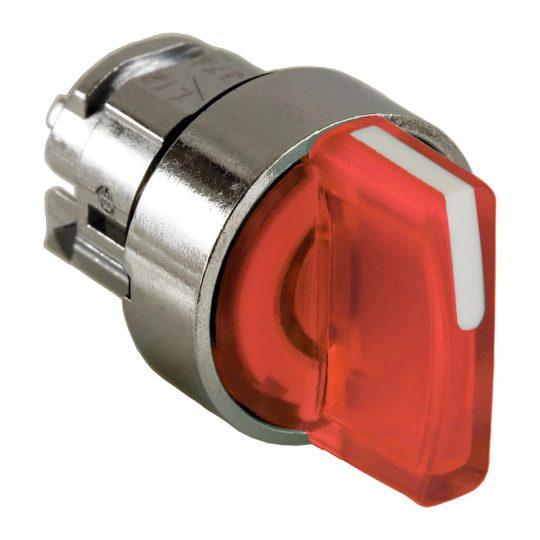 Schneider ZB4BK1543 Harmony fém világító választókapcsoló fej, Ø22, 3 állású, piros, középre visszatérő