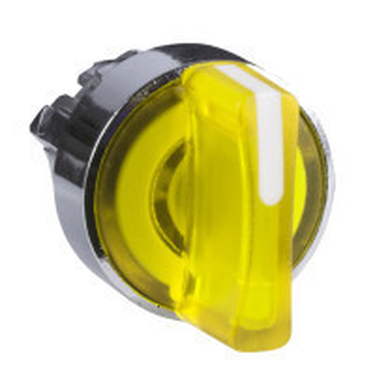 Schneider ZB4BK1583 Harmony fém világító választókapcsoló fej, Ø22, 3 állású, sárga, középre visszatérő