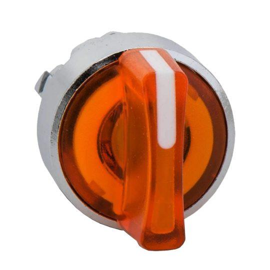 Schneider ZB4BK1753 Harmony fém világító választókapcsoló fej, Ø22, 3 állású, narancs, balról közép visszatérő