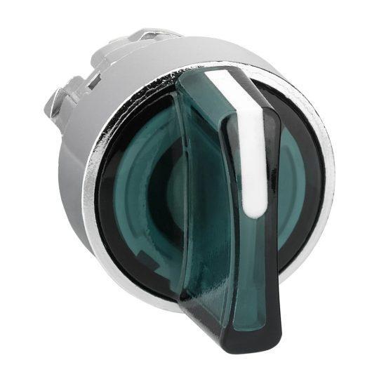 Schneider ZB4BK1833 Harmony fém világító választókapcsoló fej, Ø22, 3 állású, zöld, jobbról középre visszatérő
