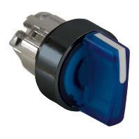 Schneider ZB4BK18637 Harmony fém világító választókapcsoló fej, Ø22, 3 állású, kék, jobbról középre visszatérő, fekete perem
