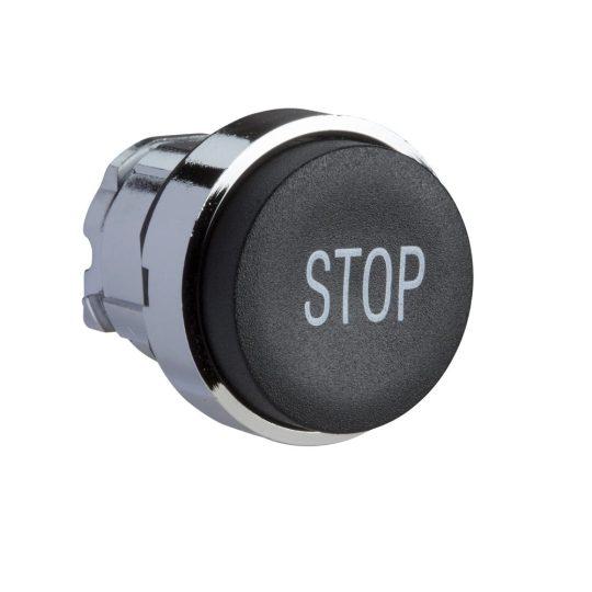 """Schneider ZB4BL234 Harmony fém nyomógomb fej, Ø22, kiemelkedő, fekete, """"STOP"""""""