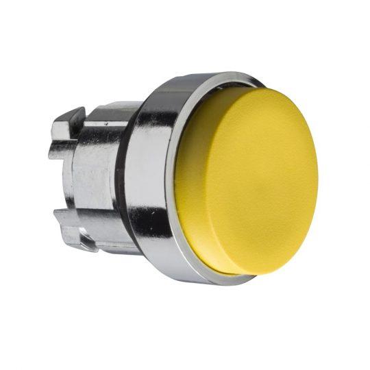 Schneider ZB4BL5 Harmony fém nyomógomb fej, Ø22, kiemelkedő, sárga, visszatérő