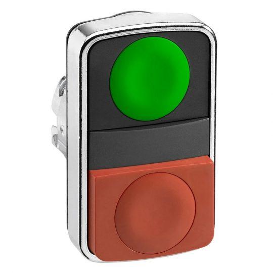 Schneider ZB4BL7340 Harmony fém kettősfejű nyomógomb fej, Ø22, visszatérő, 1 zöld 1 piros kiemelkedő nyomógomb