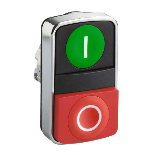 "Schneider ZB4BL7341 Harmony fém kettősfejű nyomógomb fej, Ø22, visszatérő, 1 zöld ""I"" 1 piros ""O"" kiemelkedő nyomógomb"