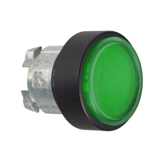 Schneider ZB4BP3837 Harmony fém nyomógomb fej, Ø22, visszatérő, védőmembrán, betehető címke, zöld, fekete perem