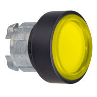 Schneider ZB4BP5837 Harmony fém nyomógomb fej, Ø22, visszatérő, védőmembrán, betehető címke, sárga, fekete perem