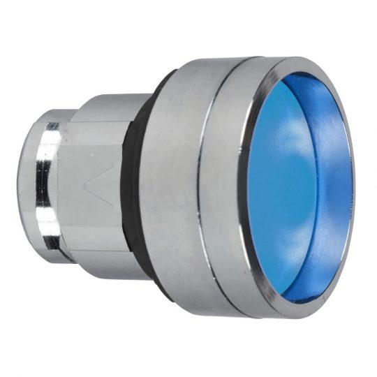 Schneider ZB4BP683 Harmony fém nyomógomb fej, Ø22, visszatérő, védőmembrán, betehető címke, kék