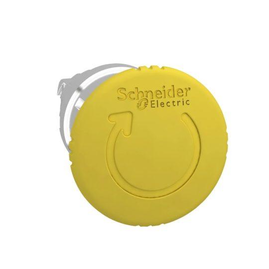 Schneider ZB4BS55 Harmony fém nyomógomb fej, Ø22, Ø40 gombafejű, forgatásra kioldó, sárga