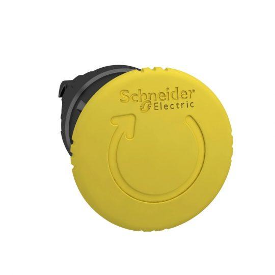 Schneider ZB4BS557 Harmony fém nyomógomb fej, Ø22, Ø40 gombafejű, forgatásra kioldó, sárga, fekete test