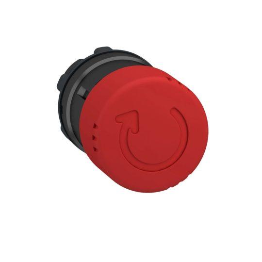 Schneider ZB4BS8347 Harmony fém vészleállító nyomógomb fej, Ø22, Ø30 gombafejű, forgatásra kioldó, piros, fekete test