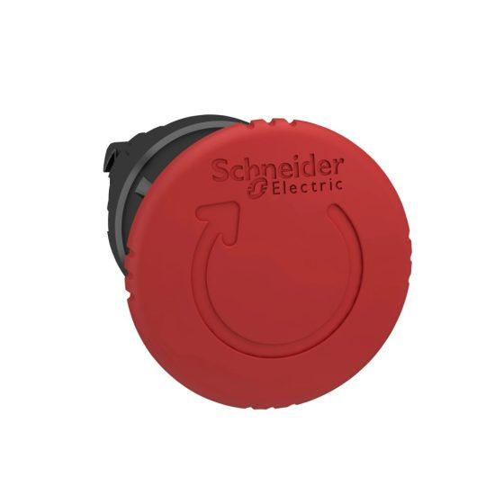 Schneider ZB4BS8447 Harmony fém vészleállító nyomógomb fej, Ø22, Ø40 gombafejű, forgatásra kioldó, piros, fekete test