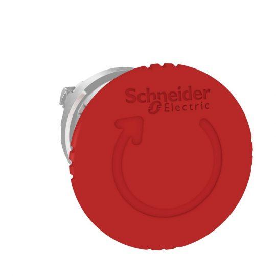 Schneider ZB4BS844TQ Harmony fém vészleállító nyomógomb fej, Ø22, Ø40 gombafejű, forgatásra kioldó, piros 100 darabos csomagban