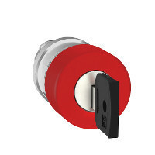 Schneider ZB4BS934 Harmony fém vészleállító nyomógomb fej, Ø22, Ø30 gombafejű, 455 kulccsal kioldó, piros