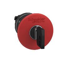 Schneider ZB4BS944147 Harmony fém vészleállító nyomógomb fej, Ø22, Ø40 gombafejű, 520E kulccsal kioldó, piros, fekete test