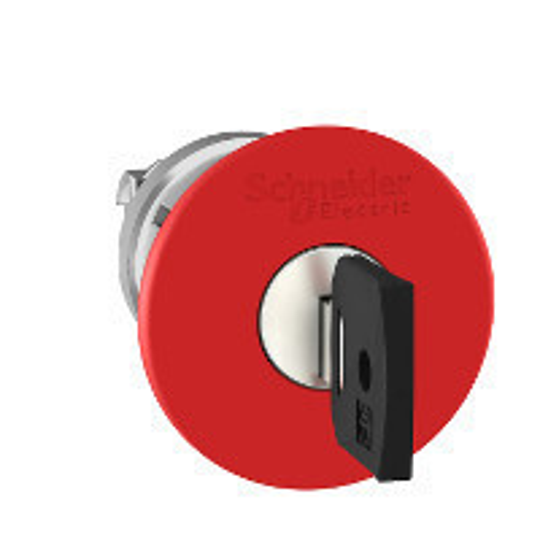 Schneider ZB4BS94420 Harmony fém vészleállító nyomógomb fej, Ø22, Ø40 gombafejű, 3131A kulccsal kioldó, piros