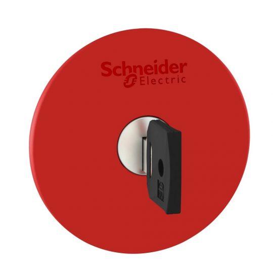 Schneider ZB4BS964 Harmony fém vészleállító nyomógomb fej, Ø22, Ø60 gombafejű, 455 kulccsal kioldó, piros