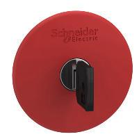 Schneider ZB4BS9647 Harmony fém vészleállító nyomógomb fej, Ø22, Ø60 gombafejű, 455 kulccsal kioldó, piros, fekete test