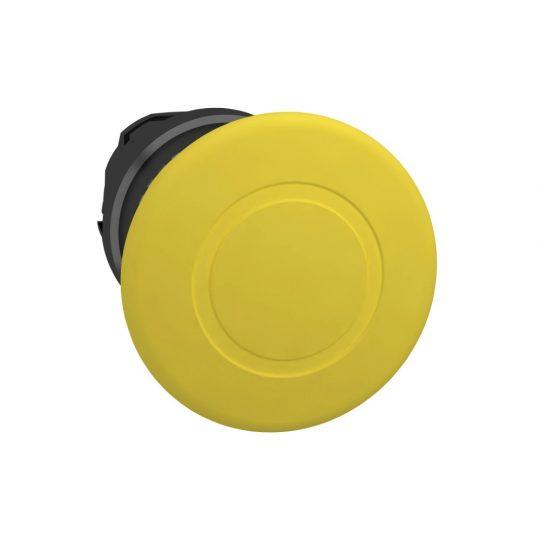 Schneider ZB4BT57 Harmony fém nyomógomb fej, Ø22, Ø40 gombafejű, húzásra kioldó, sárga, fekete test