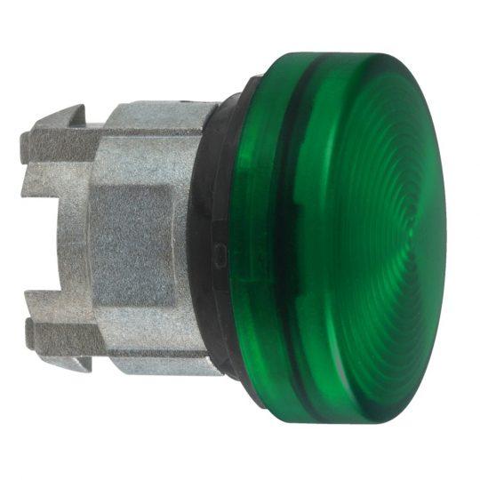 Schneider ZB4BV03S Harmony fém jelzőlámpa fej, Ø22, BA9s izzós jelzőlámpához, hornyolt lencse, zöld