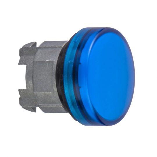 Schneider ZB4BV06S Harmony fém jelzőlámpa fej, Ø22, BA9s izzós jelzőlámpához, hornyolt lencse, kék