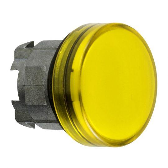 Schneider ZB4BV083S Harmony fém jelzőlámpa fej, Ø22, LED jelzőlámpához, hornyolt lencse, sárga