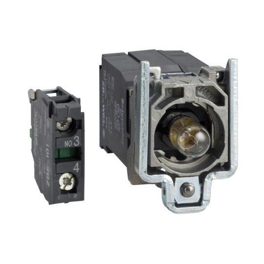 Schneider ZB4BW041 Harmony fém jelzőlámpa és érintkező blokk rögzítő aljzattal, BA9s izzós, transzformátoros, 1NO, 230VAC