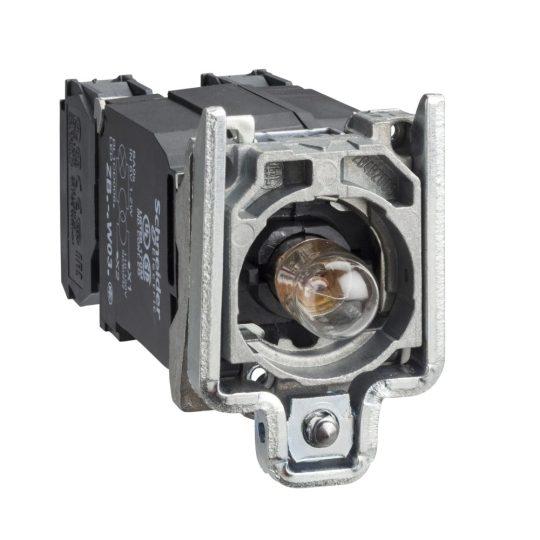 Schneider ZB4BW045 Harmony fém jelzőlámpa és érintkező blokk rögzítő aljzattal, BA9s izzós, transzformátoros, 1NO+1NC, 230VAC