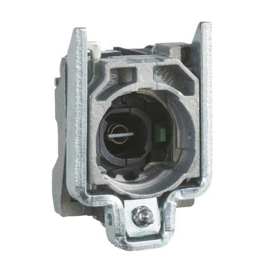 Schneider ZB4BW062 Harmony fém jelzőlámpa és érintkező blokk rögzítő aljzattal, BA9s foglalatos, 1NC, 250V