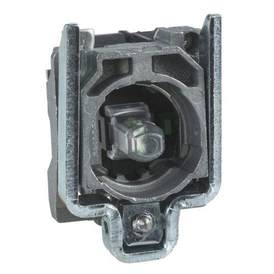 Schneider ZB4BW0B15 Harmony fém jelzőlámpa és érintkező blokk rögzítő aljzattal, LED-es, 1NO+1NC, 24VAC/DC, fehér