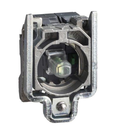 Schneider ZB4BW0B154 Harmony fém jelzőlámpa és érintkező blokk rögzítő aljzattal, LED-es, 1NO+1NC, 24VAC/DC, fehér, dugaszolós csatlakozós