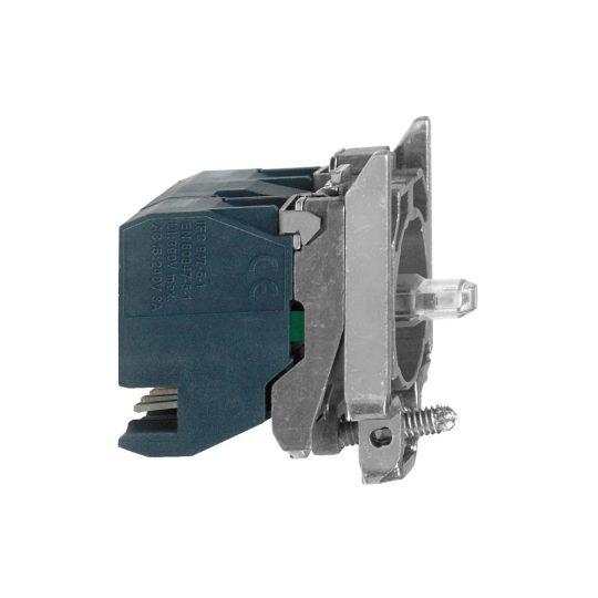 Schneider ZB4BW0B334 Harmony fém jelzőlámpa és érintkező blokk rögzítő aljzattal, LED-es, 2NO, 24VAC/DC, zöld, dugaszolós csatlakozós