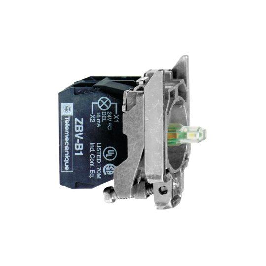 Schneider ZB4BW0G33 Harmony fém jelzőlámpa és érintkező blokk rögzítő aljzattal, LED-es, 2NO, 120VAC, zöld