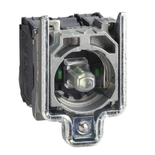 Schneider ZB4BW0M35 Harmony fém jelzőlámpa és érintkező blokk rögzítő aljzattal, LED-es, 1NO+1NC, 230VAC, zöld