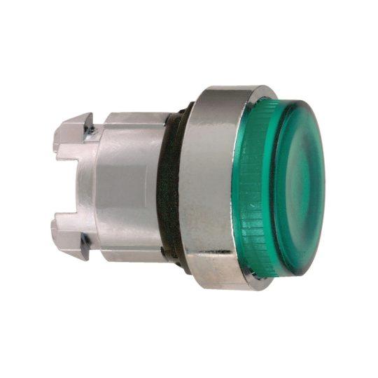 Schneider ZB4BW13S Harmony fém világító nyomógomb fej, Ø22, visszatérő, BA9s foglalatos, kiemelkedő, hornyolt lencsével, zöld
