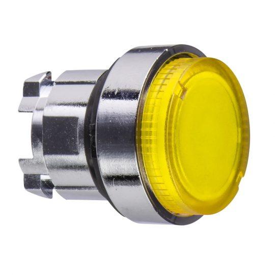 Schneider ZB4BW183 Harmony fém világító nyomógomb fej, Ø22, visszatérő, LED-es, kiemelkedő, sárga