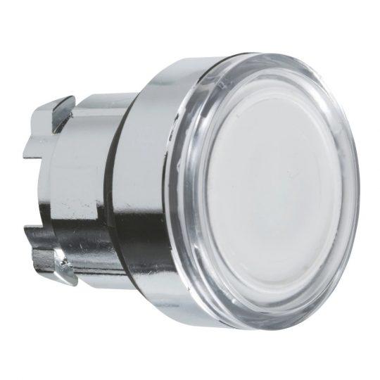Schneider ZB4BW31 Harmony fém világító nyomógomb fej, Ø22, visszatérő, BA9s izzóhoz, fehér