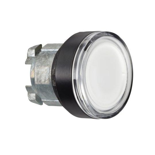 Schneider ZB4BW3137 Harmony fém világító nyomógomb fej, Ø22, visszatérő, beépített LED-hez, fehér, fekete perem